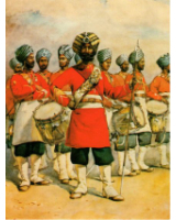 Postcard No.002 45th Rattray's Sikhs, The Drums, Jat Sikhs