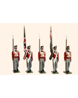 B1A Toy Soldiers Set British Line Infantry Ensigns with colours and Colour Sergents Painted