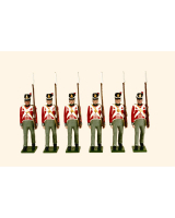 B1D Toy Soldiers Set British Line Infantry Six Private Marching Painted