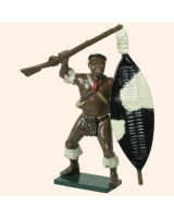 402 4 Toy Soldier Zulu Warrior Waving musket Kit