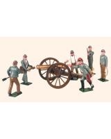 079 Toy Soldiers Set Confederate Artillery with a 12 Pounder Gun Painted