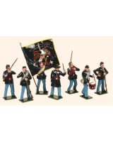 903 Toy Soldiers Set Union Infantry with Colour Bearer Painted