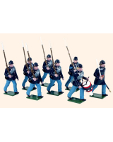 909 Toy Soldiers Set Union Infantry Marching with Drummer Painted