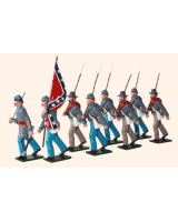 910 Toy Soldiers Set Confederate Infantry Marching with flag Painted