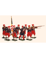 911 Toy Soldiers Set 5th New York Zouaves with Colour-Bearer and Firing Painted