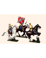 916 Toy Soldiers Set Confederate Cavalry An Officer Colour Bearer and Bugler Painted
