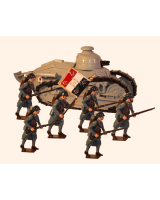 822 Toy Soldier Set Renault FT17 Tank with Gun with infantry Painted