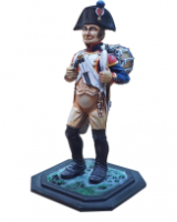 75/01 Model Soldier - French Fussilier Tambour 1805-06, in bicorne, drum slung on pack in marching position - Unpainted