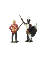 539 Toy Soldier Set Private 24th and Zulu Warrior Painted