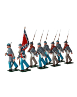 0910 Toy Soldiers Set Confederate Infantry Marching with flag Painted