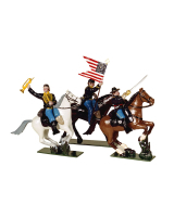 0914 Toy Soldiers Set Union Cavalry An Officer, Colour Bearer and Bugler Painted