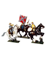 0916 Toy Soldiers Set Confederate Cavalry An Officer Colour Bearer and Bugler Painted