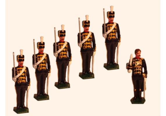 034a Toy Soldiers Set Officer with five Troopers The 3rd King's Own Hussars 1890 Painted