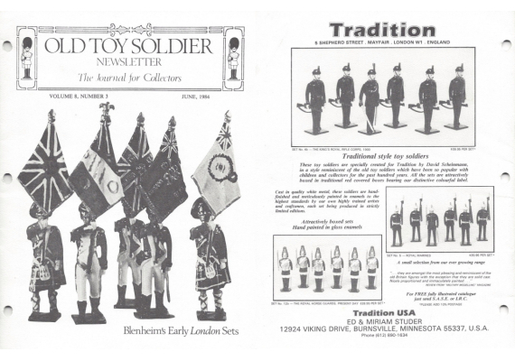 Old Toy Soldier Newsletter 1984 Volume 8 Number 3 Blenheims Early London Sets