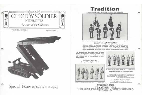 Old Toy Soldier Newsletter 1984 Volume 8 Number 4 Special Issue: Pontoons and Bridging