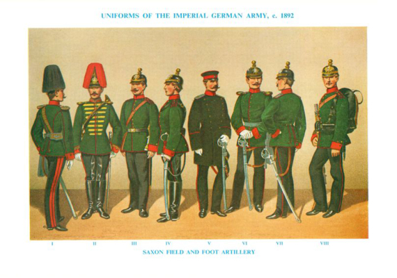 Plate ToL No.005 Saxon Field and Foot Artillery Uniforms of the Imperial German Army c.1892
