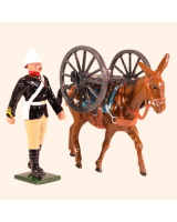 0096 6 Toy Soldier Private with Mule carrying Wheels to Gun Kit
