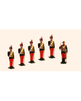 034b Toy Soldiers Set Officer with five Troopers The 11th Hussars Prince Albert's Own Painted