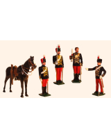 0035b Toy Soldiers Set An Officer, Sergeant Major, Trooper at attention and Trooper shouldering Painted