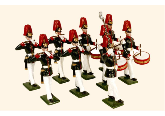 057 Toy Soldiers Set The Fifes and Drum of the Prussian Guard Infantry 1914 Painted