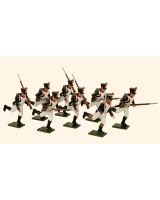 0719 Toy Soldiers Set French Line Infantry Fusiliers Running Painted