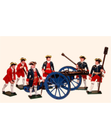 665 Toy Soldiers Set French Artillery Gun Crew Painted