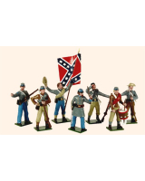 0905 Toy Soldiers Set Confederate Infantry with Colour Bearer Painted